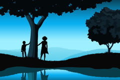 Nature Background with Silhouettes Stock Photo