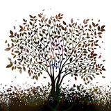 Nature background with tree and grass silhouettes vector.  Royalty Free Stock Photos