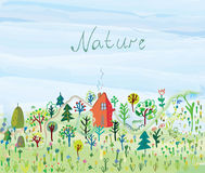 Nature background with trees and grass for tourism. Illustration royalty free illustration