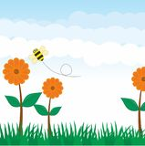Nature Background Vector. With flower and grass. Sunshine sky background. Summer background Vector Illustration