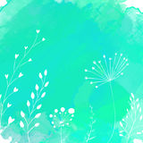 Nature background with white hand drawn plants Stock Photography