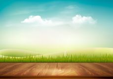 Nature background with wooden deck vector illustration