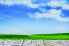 Nature background - wooden table top, green lawn and blue sky royalty free stock images