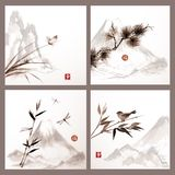 Nature backgrounds in Japanese style Stock Images