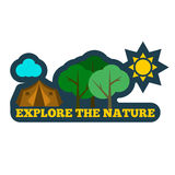 Nature badge sticker or logo. Flat vector illustration