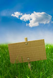 Nature banner on a green grass and blue sky Stock Images