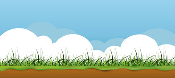 Nature banner illustration. Sunny seasonal nature illustration. Situated cloudscape and grass, and the little undeground view Royalty Free Stock Images