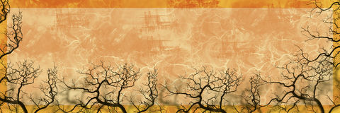 Nature Banner Tree Silhouette. Grunge textured nature banner with golden orange background and barren trees silhouetted around bottom border vector illustration