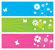 Nature Banners. 3 nature themed banners with flowers and butterflies Royalty Free Stock Photography
