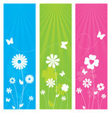 Nature Banners. 3 nature themed banners with flowers and butterflies Stock Images