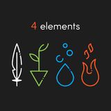 Nature basic elements: Water, Fire, Earth, Air. Icons on Stock Images
