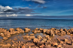 Nature beach of ocean full of rock with blue sky Stock Image