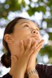 Nature beautiful asian woman face stock images