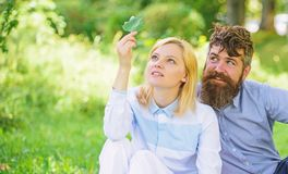 Nature beauty concept. Woman enjoy relax nature background. Pure nature. Couple with green leaf relax natural royalty free stock photos