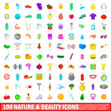 100 nature and beauty icons set, cartoon style Stock Photos