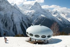 Mountains UFO house Royalty Free Stock Photos