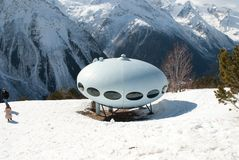 Mountains UFO house Royalty Free Stock Images