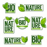 Nature and Bio Product, doodle organic leaves emblems, stickers, Stock Image