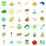 Nature biology icons set, cartoon style Stock Images