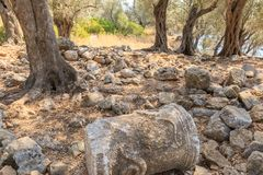 Sedir Island Cleopatra. Shehir Adasa, Marmaris, Mugla, Turkey. The nature in it is black white shades. Shehir Adasa, Marmaris, Mugla, Turkey, 2017 Royalty Free Stock Photography