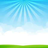 Nature Blue sky sunburst copy space and greenfiel Background 002. Blue sky cloud sunburst and green field vector illustration Stock Photo