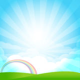 Nature Blue sky sunburst copy space and greenfiel Background 001. Blue sky cloud sunburst and green field vector illustration Stock Image