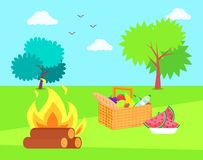 Nature and Bonfire with Basket and Fruits Veggies royalty free illustration
