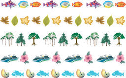 5 Nature Borders Fish Trees Leaves Stock Photos