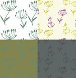 Nature botanique sans couture de quatre modèles illustration de vecteur