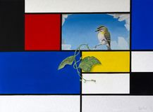 Nature Breaking Through. Original oil on canvas painting depicting a Mondrian style background with broken pane revealing hanging ivy and a small bird Royalty Free Stock Image