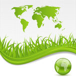 Nature brochure with global planet and grass Stock Photo
