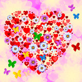 Nature Butterflies Represents Heart Shape And Bloom Royalty Free Stock Image