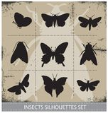 Nature butterflies silhouettes sign vector set Stock Image