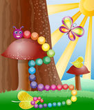 Nature, butterly and caterpillar. Cartoon picture with nature, butterly and caterpillar Stock Photos