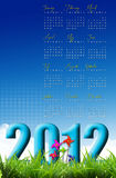 Nature calendar. 2012 with Toy wind turbine Royalty Free Stock Photo