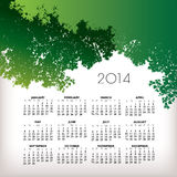2014 nature calendar. Illustration of 2014 calendar with green tree leaves Stock Photo
