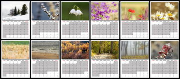 Nature calendar year 2016. Layout with all months stock photos