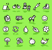 Nature,camping,green icons set. Vector black and white hand-drawn icons on green Stock Photo