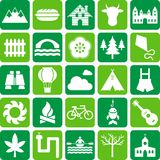 Nature, camping and outdoor activities icons Royalty Free Stock Images