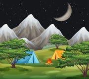 A nature campsite landscape. Illustration royalty free illustration