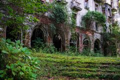Nature captures the ruined house. House abandoned by people. Tkvarcheli. Abkhazia royalty free stock images