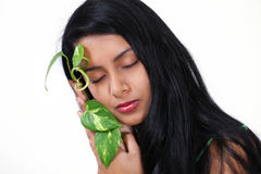 Nature care girl Royalty Free Stock Image