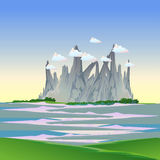 Nature cartoon landscape with mountain, forest, field, cloud, river in flat style art vector illustration background.  Stock Photo