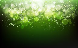 Nature celebration festival with stars green concept, ribbons confetti falling, dust, glowing blurry scatter blinking Bokeh luxury royalty free illustration
