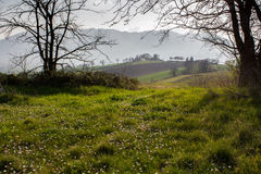 Nature in central Italy, beautiful views. Skies and meadows and above clouds Stock Image
