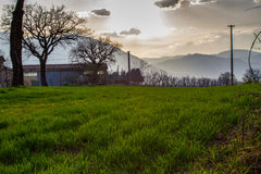 Nature in central Italy, beautiful views. Skies and meadows and above clouds Royalty Free Stock Photography