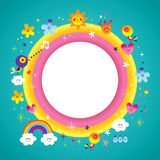Nature characters blank banner round frame border Stock Photos