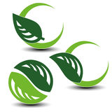 Nature circular symbols with leaf, natural simple elements, green eco labels with shadow - set 4. Illustration Stock Photos