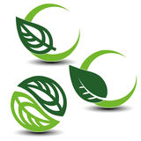 Nature circular symbols with leaf, natural simple elements, green eco labels with shadow - set 2. Illustration Stock Photo