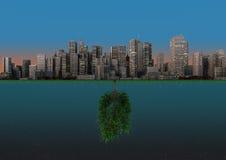 Nature and city balance Stock Photos